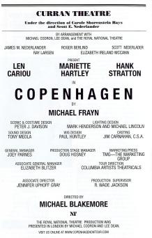 Copenhagen Playbill Cast